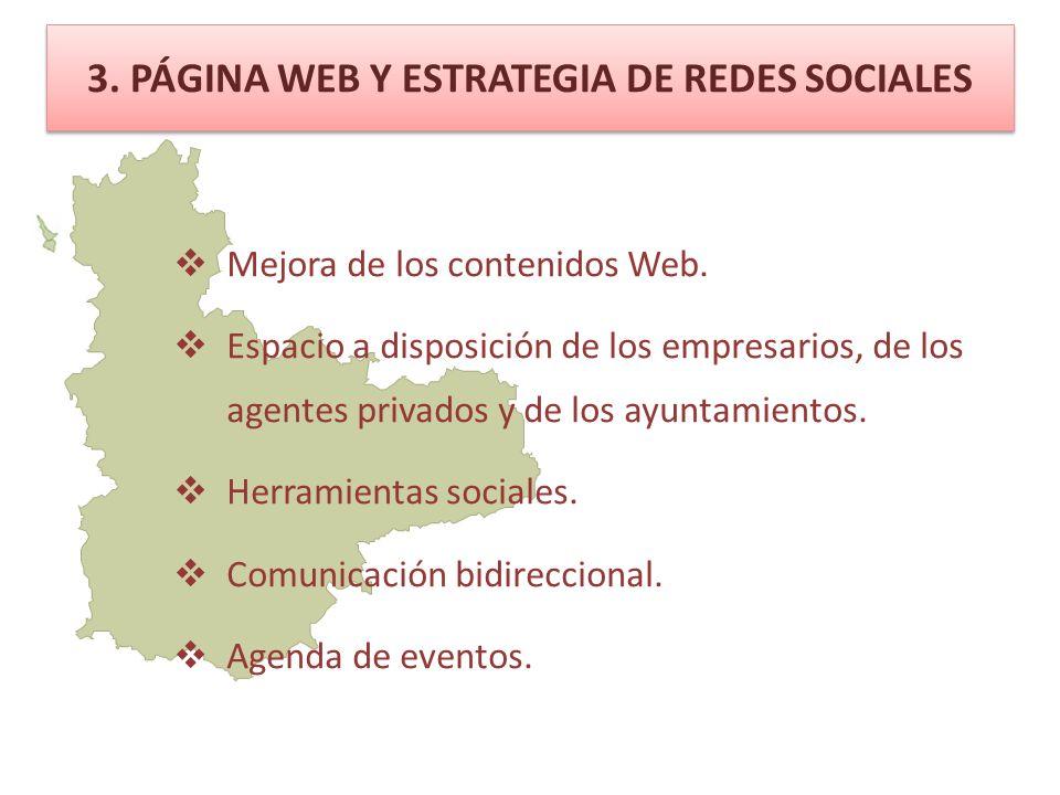 3. PÁGINA WEB Y ESTRATEGIA DE REDES SOCIALES Mejora de los contenidos Web.