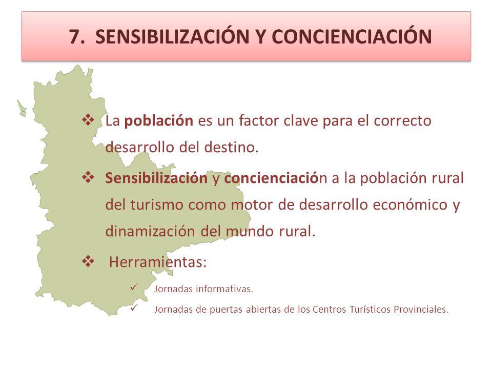 7. SENSIBILIZACIÓN Y CONCIENCIACIÓN La población es un factor clave para el correcto desarrollo del destino. Sensibilización y concienciación a la pob