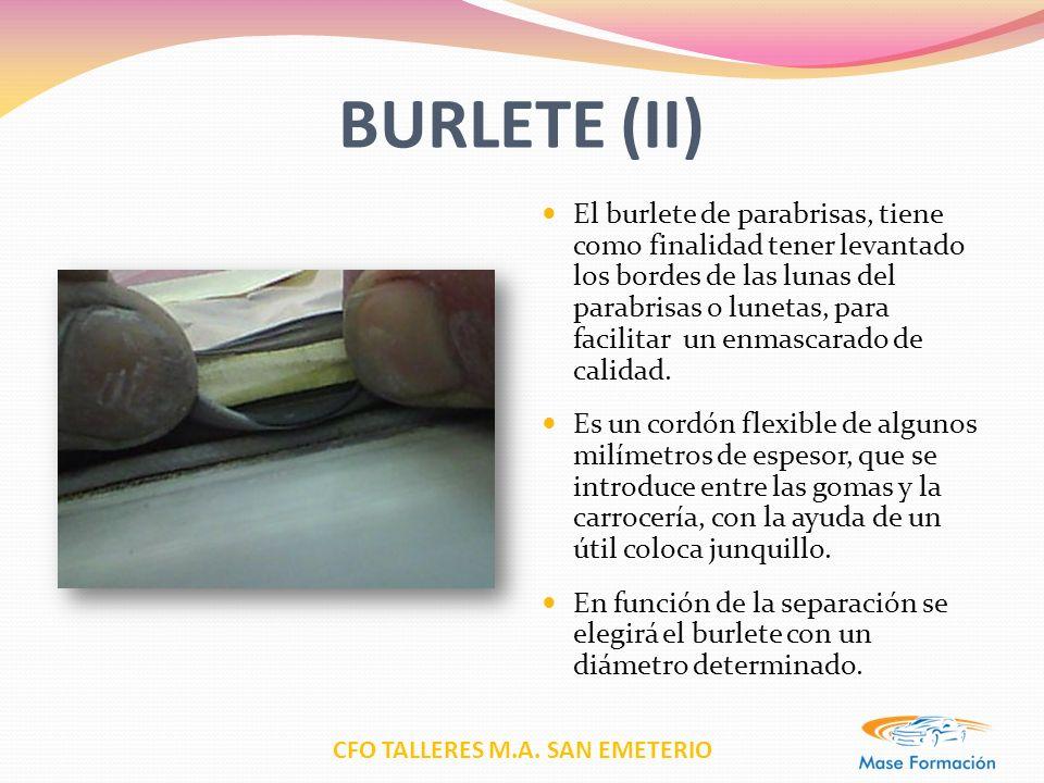 CFO TALLERES M.A. SAN EMETERIO BURLETE (II) El burlete de parabrisas, tiene como finalidad tener levantado los bordes de las lunas del parabrisas o lu