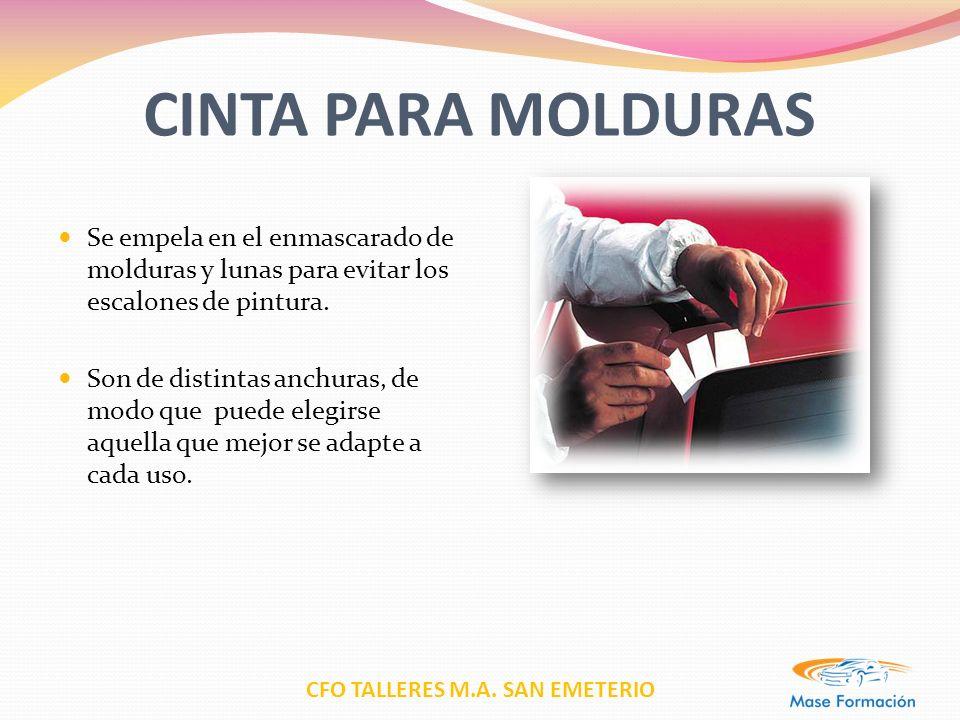 CFO TALLERES M.A. SAN EMETERIO CINTA PARA MOLDURAS Se empela en el enmascarado de molduras y lunas para evitar los escalones de pintura. Son de distin