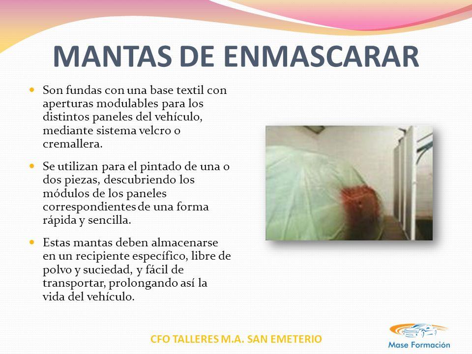 CFO TALLERES M.A. SAN EMETERIO MANTAS DE ENMASCARAR Son fundas con una base textil con aperturas modulables para los distintos paneles del vehículo, m