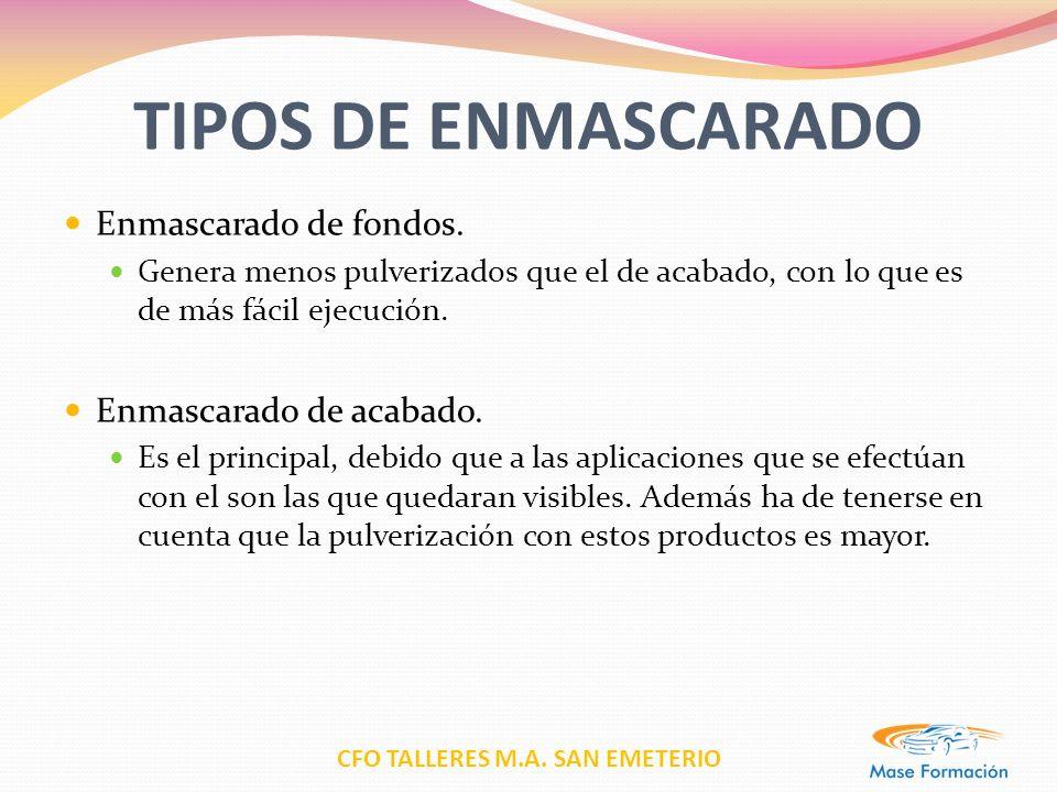CFO TALLERES M.A. SAN EMETERIO TIPOS DE ENMASCARADO Enmascarado de fondos. Genera menos pulverizados que el de acabado, con lo que es de más fácil eje