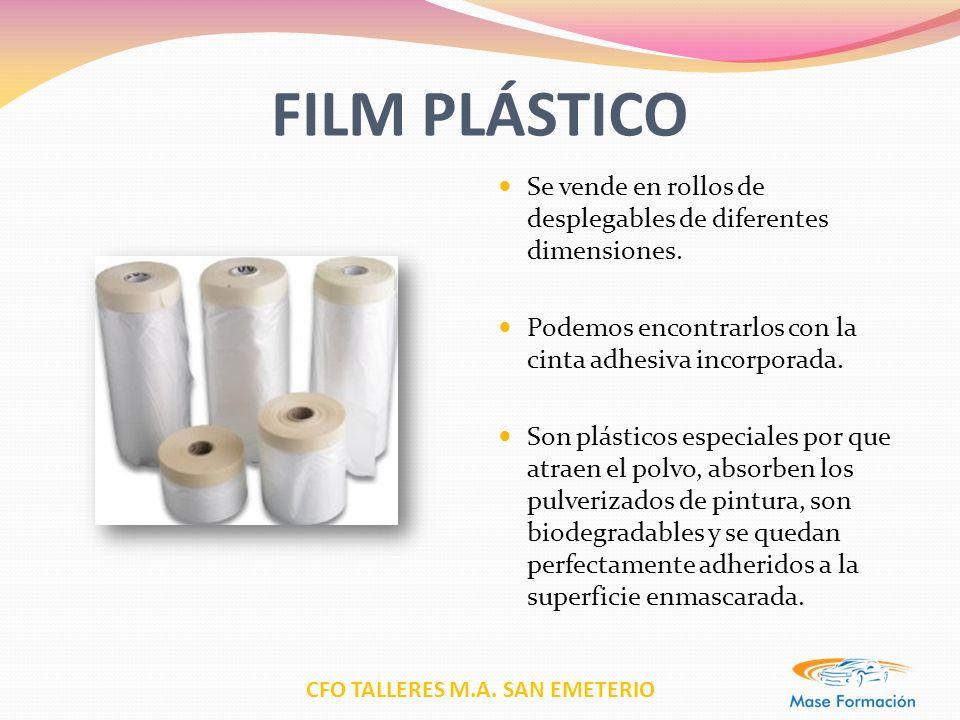 CFO TALLERES M.A. SAN EMETERIO FILM PLÁSTICO Se vende en rollos de desplegables de diferentes dimensiones. Podemos encontrarlos con la cinta adhesiva