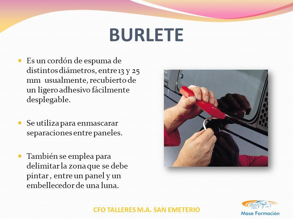 CFO TALLERES M.A. SAN EMETERIO BURLETE Es un cordón de espuma de distintos diámetros, entre 13 y 25 mm usualmente, recubierto de un ligero adhesivo fá