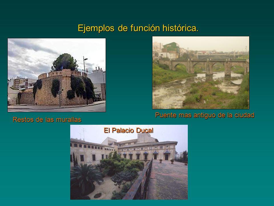 Ejemplos de función histórica. Restos de las murallas Puente mas antiguo de la ciudad El Palacio Ducal
