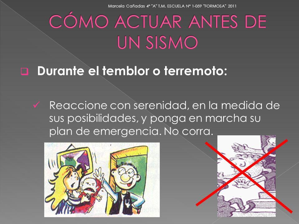 Durante el temblor o terremoto: Reaccione con serenidad, en la medida de sus posibilidades, y ponga en marcha su plan de emergencia. No corra. Marcela