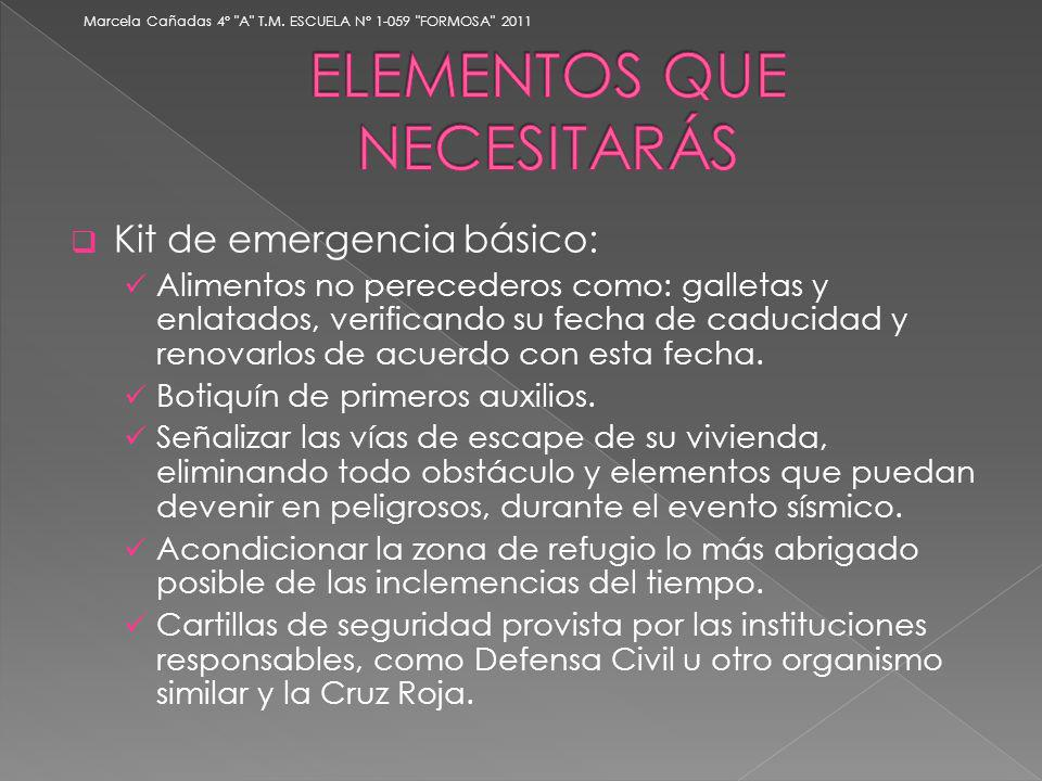 Kit de emergencia básico: Alimentos no perecederos como: galletas y enlatados, verificando su fecha de caducidad y renovarlos de acuerdo con esta fech