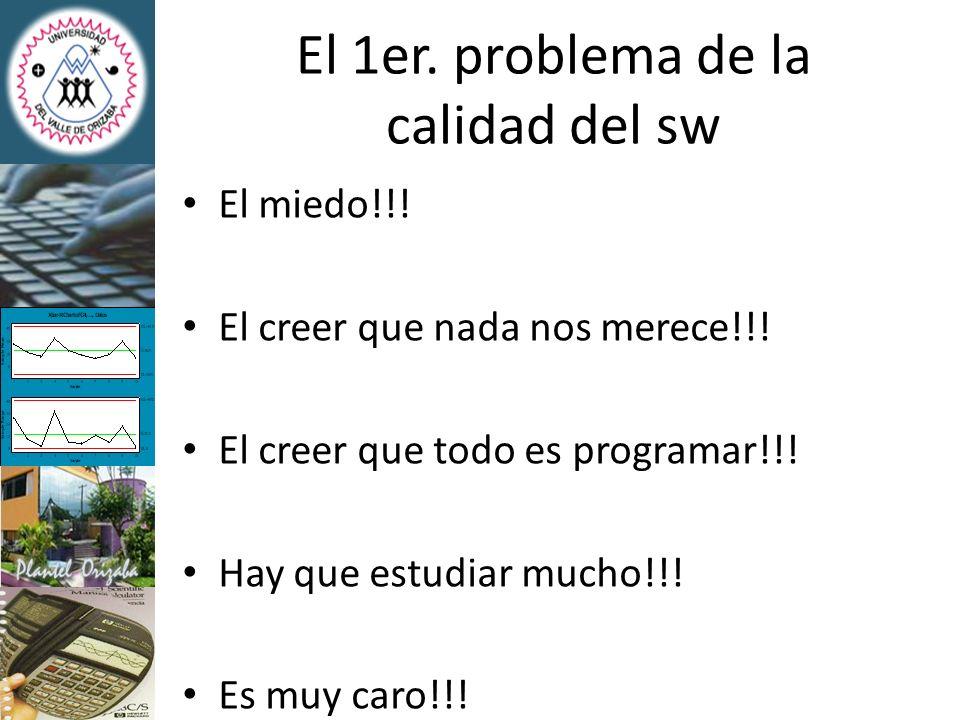 El 1er. problema de la calidad del sw El miedo!!! El creer que nada nos merece!!! El creer que todo es programar!!! Hay que estudiar mucho!!! Es muy c