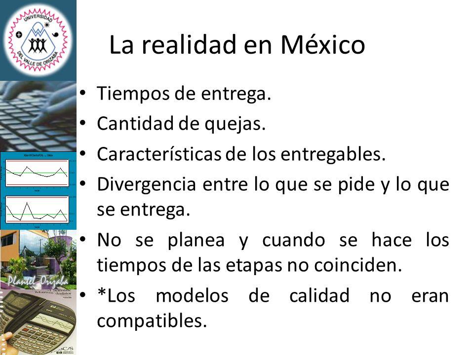 La realidad en México Tiempos de entrega. Cantidad de quejas. Características de los entregables. Divergencia entre lo que se pide y lo que se entrega