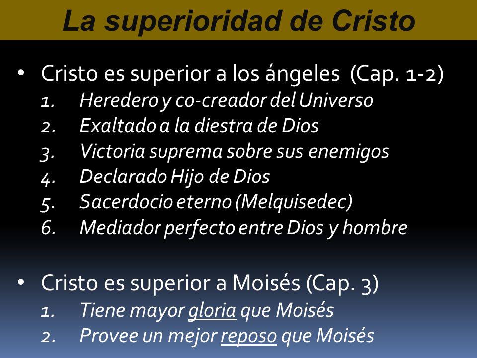 Cristo es superior a los ángeles (Cap. 1-2) 1.Heredero y co-creador del Universo 2.Exaltado a la diestra de Dios 3.Victoria suprema sobre sus enemigos