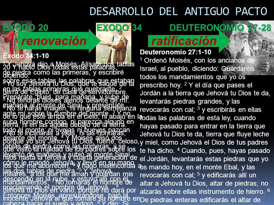DESARROLLO DEL ANTIGUO PACTO renovación EXODO 34 DEUTERONOMIO 27-28 ratificación EXODO 20 Éxodo 34:1-10 1 Y Jehová dijo a Moisés: Alísate dos tablas d