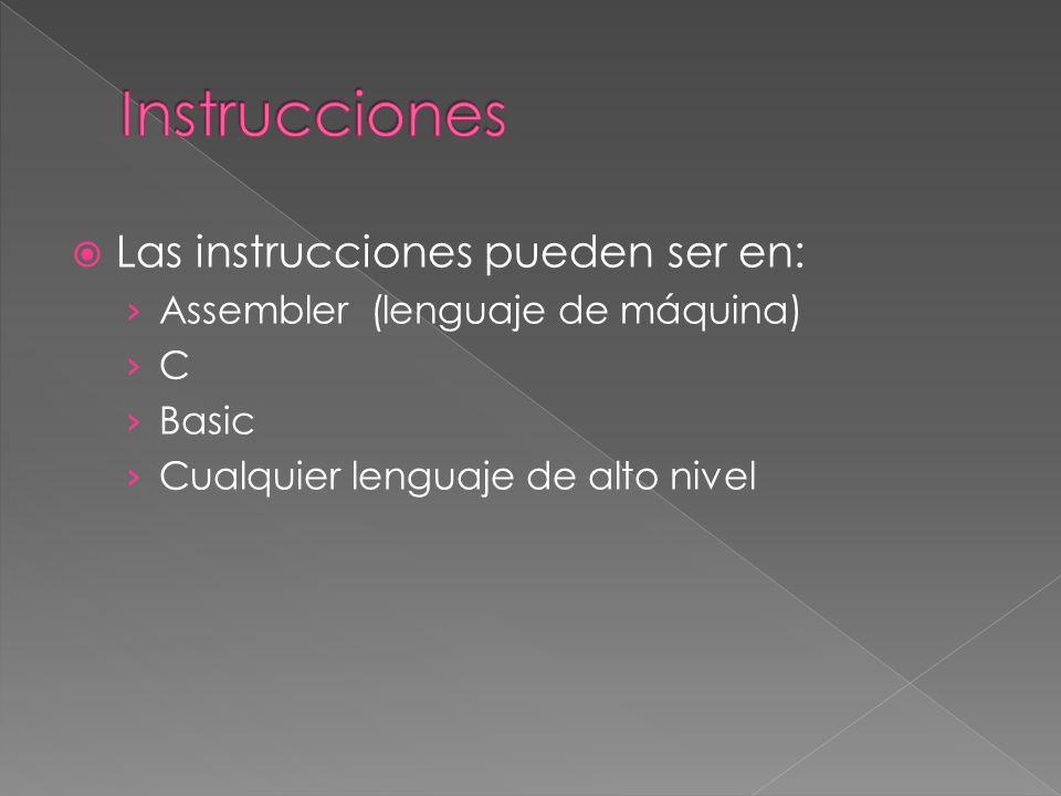 Las instrucciones pueden ser en: Assembler (lenguaje de máquina) C Basic Cualquier lenguaje de alto nivel