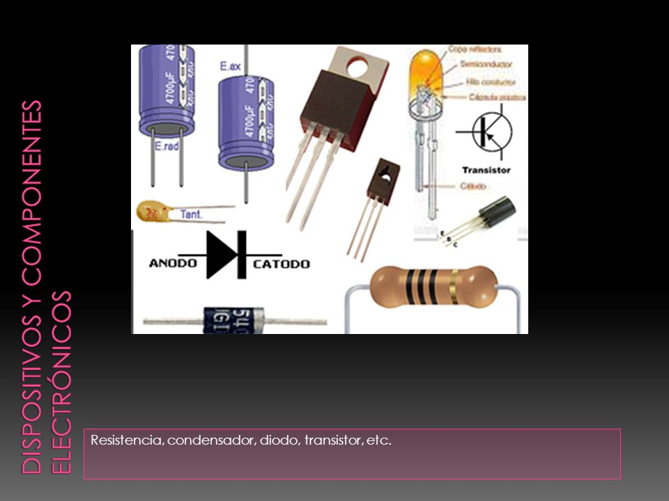 Resistencia, condensador, diodo, transistor, etc.