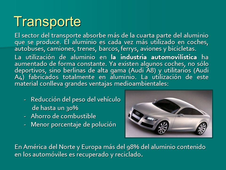 Transporte El sector del transporte absorbe más de la cuarta parte del aluminio que se produce. El aluminio es cada vez más utilizado en coches, autob
