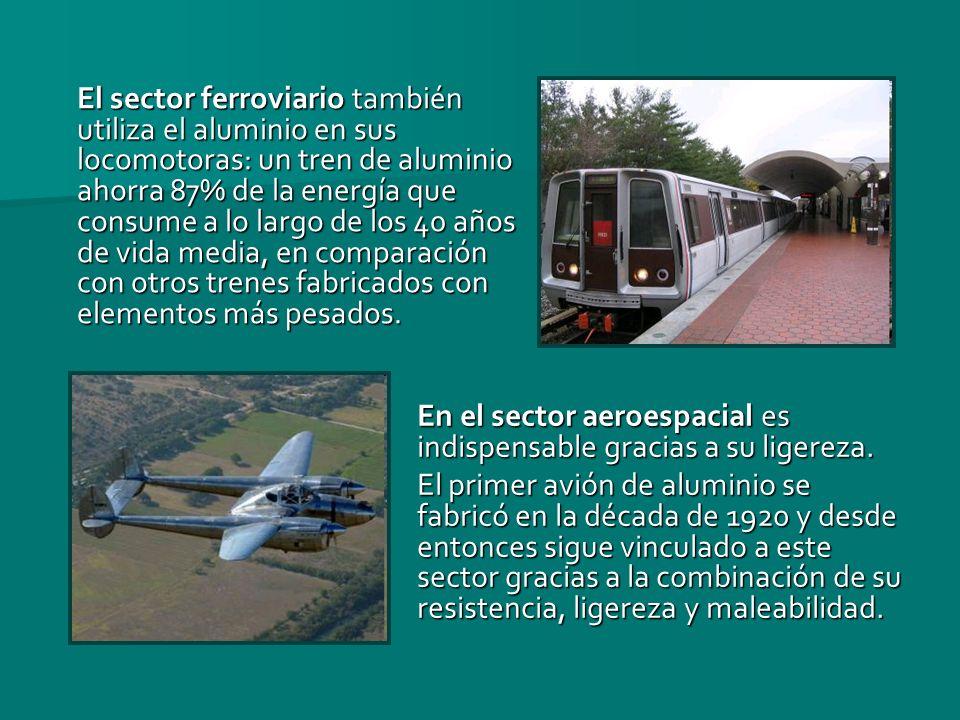El sector ferroviario también utiliza el aluminio en sus locomotoras: un tren de aluminio ahorra 87% de la energía que consume a lo largo de los 40 añ