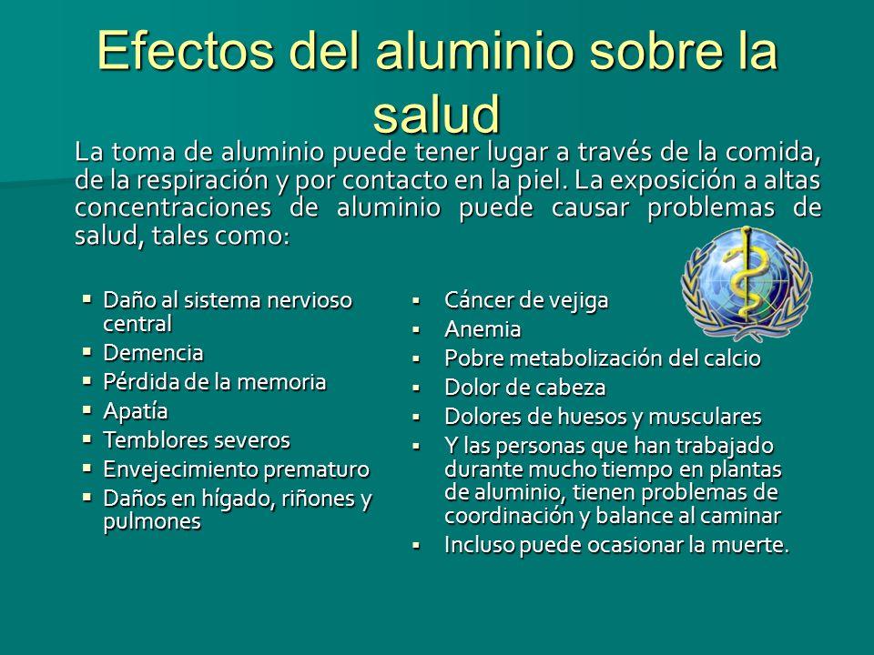 Efectos del aluminio sobre la salud La toma de aluminio puede tener lugar a través de la comida, de la respiración y por contacto en la piel. La expos