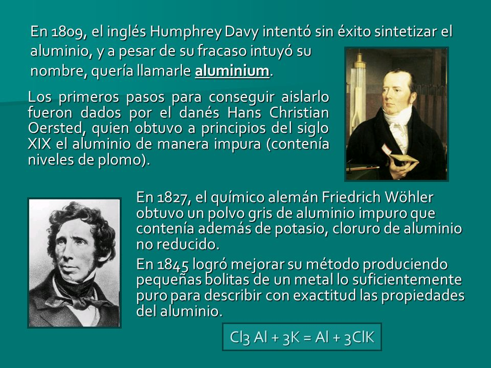 En 1809, el inglés Humphrey Davy intentó sin éxito sintetizar el aluminio, y a pesar de su fracaso intuyó su nombre, quería llamarle aluminium. Los pr
