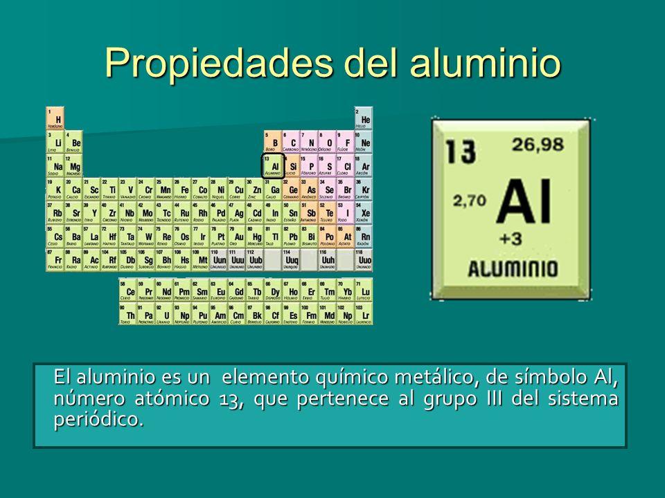 Propiedades del aluminio El aluminio es un elemento químico metálico, de símbolo Al, número atómico 13, que pertenece al grupo III del sistema periódi