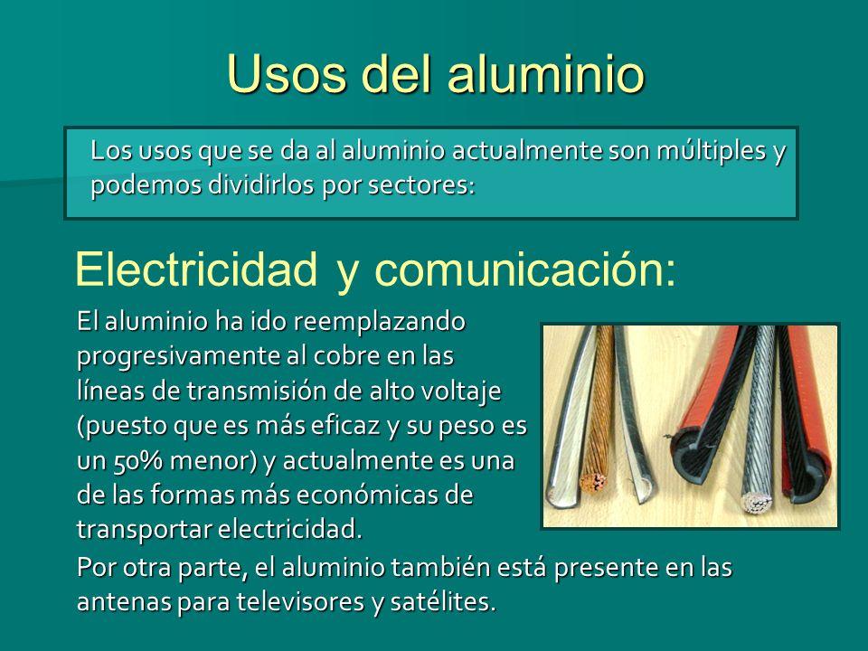 Usos del aluminio Los usos que se da al aluminio actualmente son múltiples y podemos dividirlos por sectores: Electricidad y comunicación: El aluminio