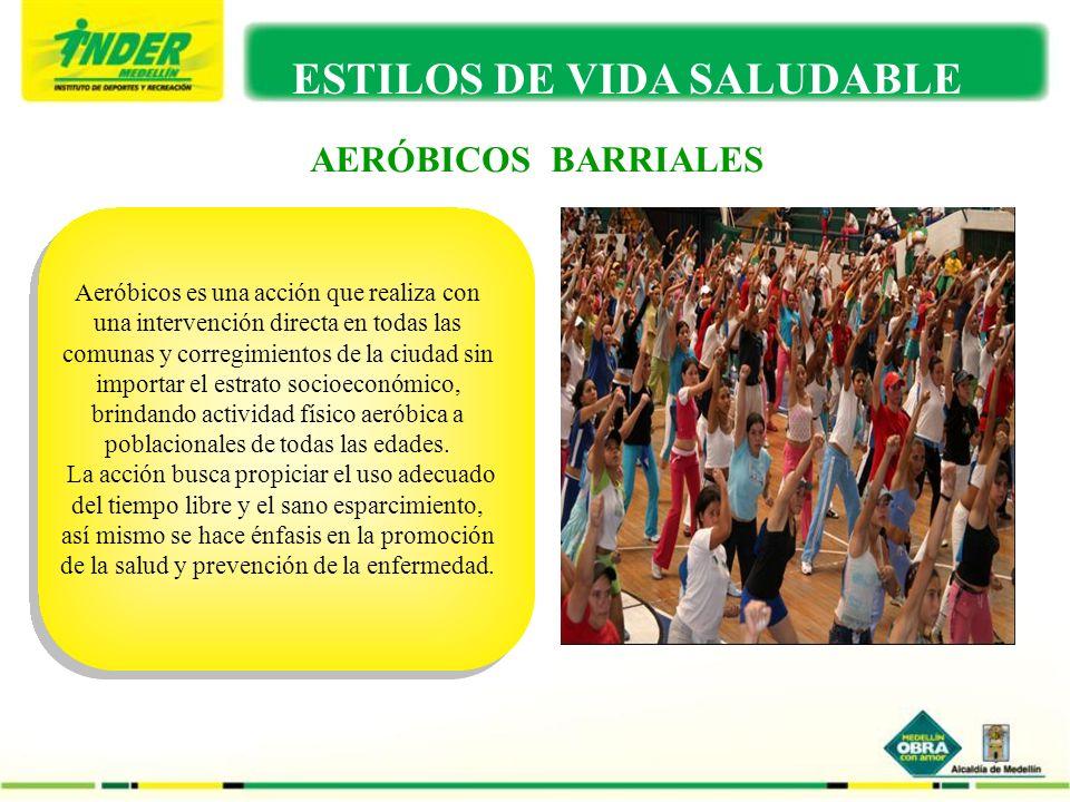 AERÓBICOS BARRIALES ESTILOS DE VIDA SALUDABLE Aeróbicos es una acción que realiza con una intervención directa en todas las comunas y corregimientos d