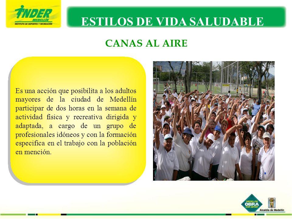 CANAS AL AIRE ESTILOS DE VIDA SALUDABLE Es una acción que posibilita a los adultos mayores de la ciudad de Medellín participar de dos horas en la sema