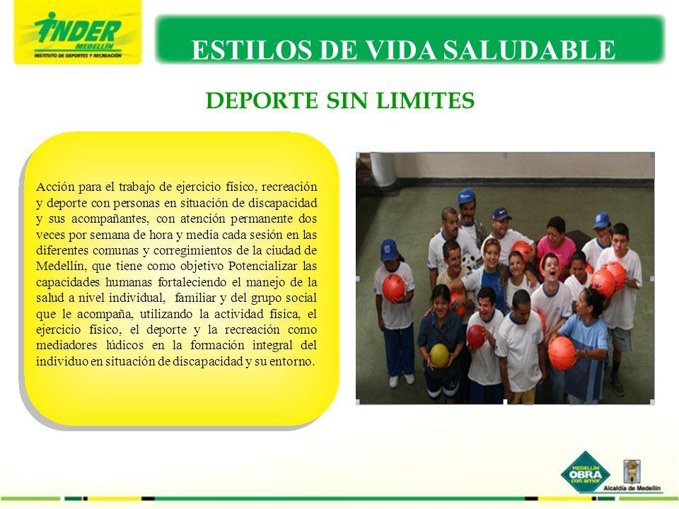 DEPORTE SIN LIMITES ESTILOS DE VIDA SALUDABLE Acción para el trabajo de ejercicio físico, recreación y deporte con personas en situación de discapacid