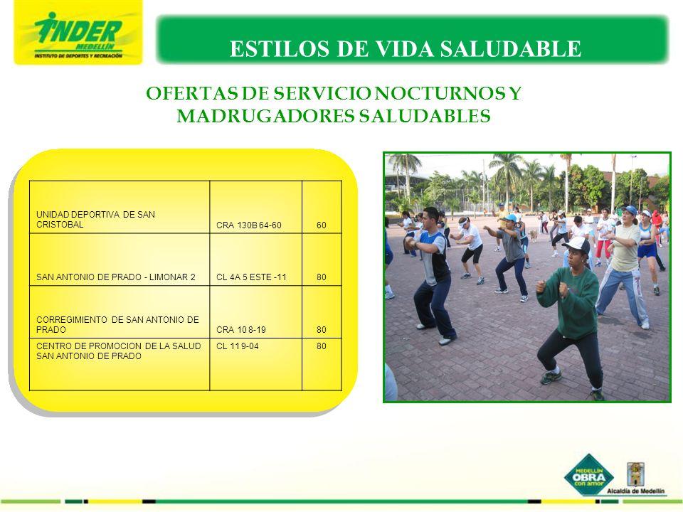 OFERTAS DE SERVICIO NOCTURNOS Y MADRUGADORES SALUDABLES ESTILOS DE VIDA SALUDABLE UNIDAD DEPORTIVA DE SAN CRISTOBALCRA 130B 64-6060 SAN ANTONIO DE PRA