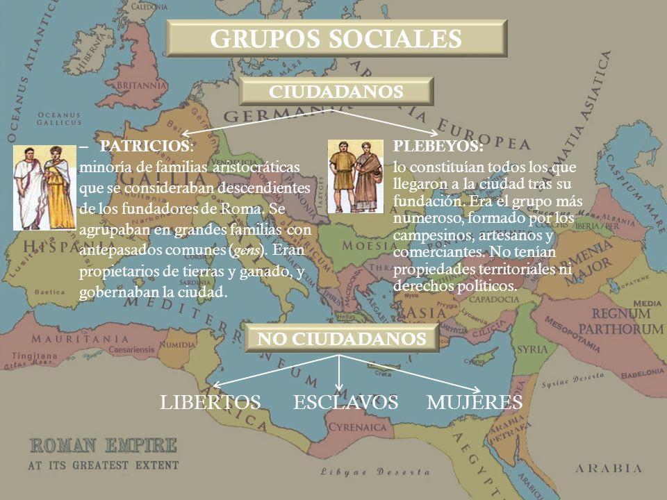 – PATRICIOS : minoría de familias aristocráticas que se consideraban descendientes de los fundadores de Roma. Se agrupaban en grandes familias con ant
