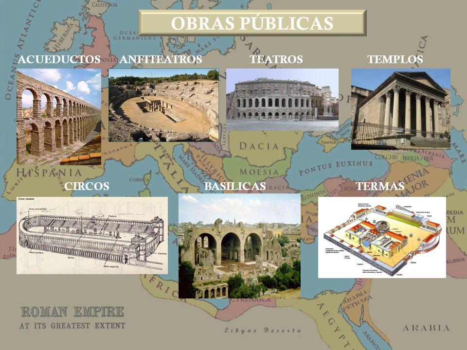 ACUEDUCTOS ANFITEATROS TEATROS TEMPLOS CIRCOSBASILICAS TERMAS OBRAS PÚBLICAS