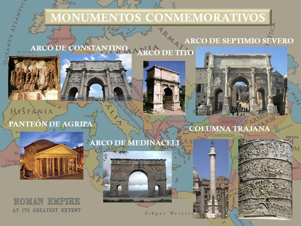 ARCO DE CONSTANTINO ARCO DE SEPTIMIO SEVERO ARCO DE TITO ARCO DE MEDINACELI COLUMNA TRAJANA PANTEÓN DE AGRIPA MONUMENTOS CONMEMORATIVOS