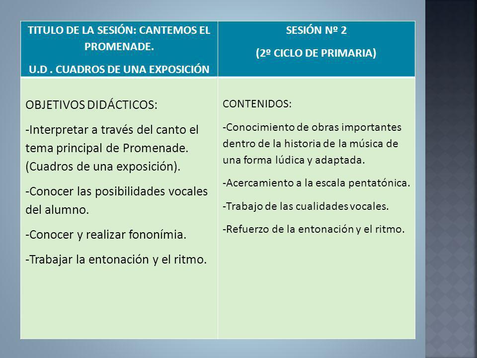 TITULO DE LA SESIÓN: CANTEMOS EL PROMENADE. U.D. CUADROS DE UNA EXPOSICIÓN SESIÓN Nº 2 (2º CICLO DE PRIMARIA) OBJETIVOS DIDÁCTICOS: -Interpretar a tra
