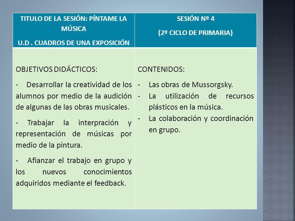 TITULO DE LA SESIÓN: PÍNTAME LA MÚSICA U.D. CUADROS DE UNA EXPOSICIÓN SESIÓN Nº 4 (2º CICLO DE PRIMARIA) OBJETIVOS DIDÁCTICOS: - Desarrollar la creati
