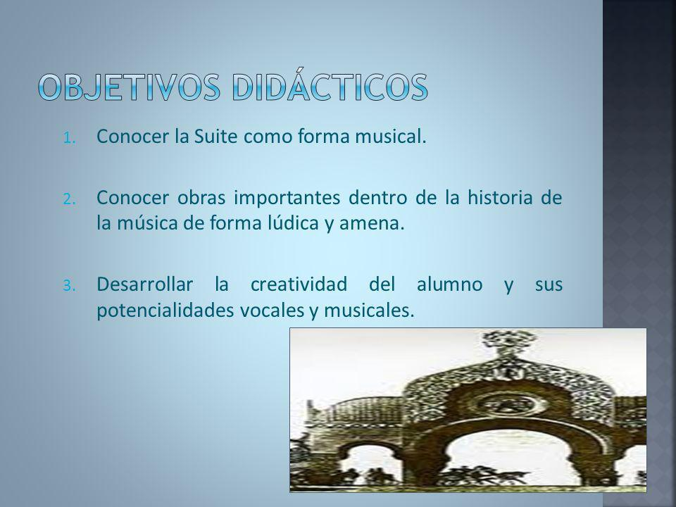 1. Conocer la Suite como forma musical. 2. Conocer obras importantes dentro de la historia de la música de forma lúdica y amena. 3. Desarrollar la cre