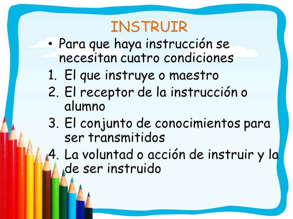 INSTRUIR Para que haya instrucción se necesitan cuatro condiciones 1.El que instruye o maestro 2.El receptor de la instrucción o alumno 3.El conjunto
