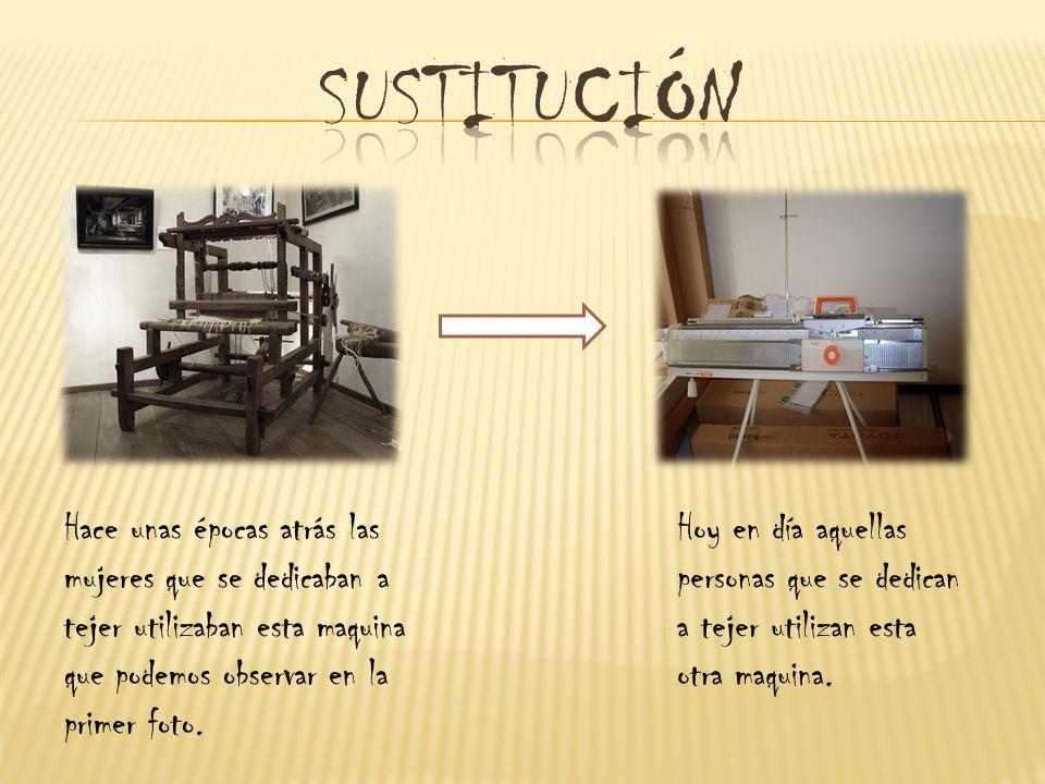 Hace unas épocas atrás las mujeres que se dedicaban a tejer utilizaban esta maquina que podemos observar en la primer foto.