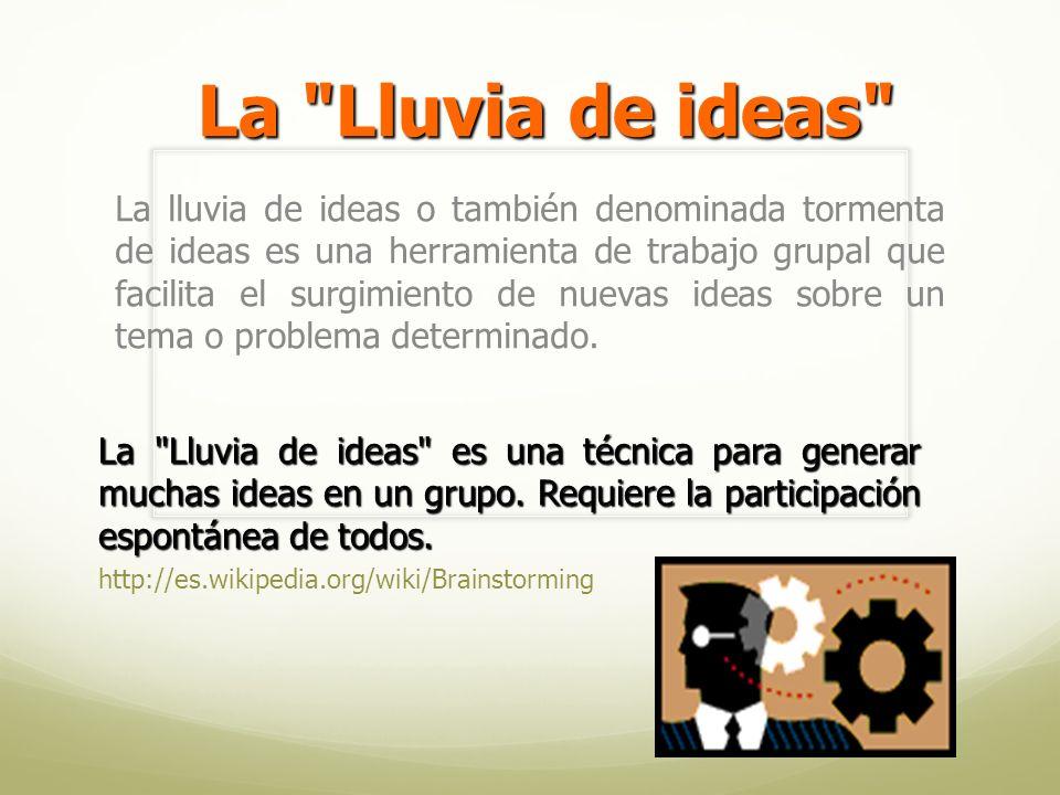La lluvia de ideas o también denominada tormenta de ideas es una herramienta de trabajo grupal que facilita el surgimiento de nuevas ideas sobre un tema o problema determinado.