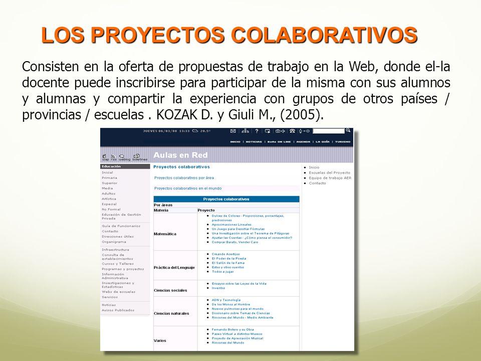 Consisten en la oferta de propuestas de trabajo en la Web, donde el-la docente puede inscribirse para participar de la misma con sus alumnos y alumnas y compartir la experiencia con grupos de otros países / provincias / escuelas.