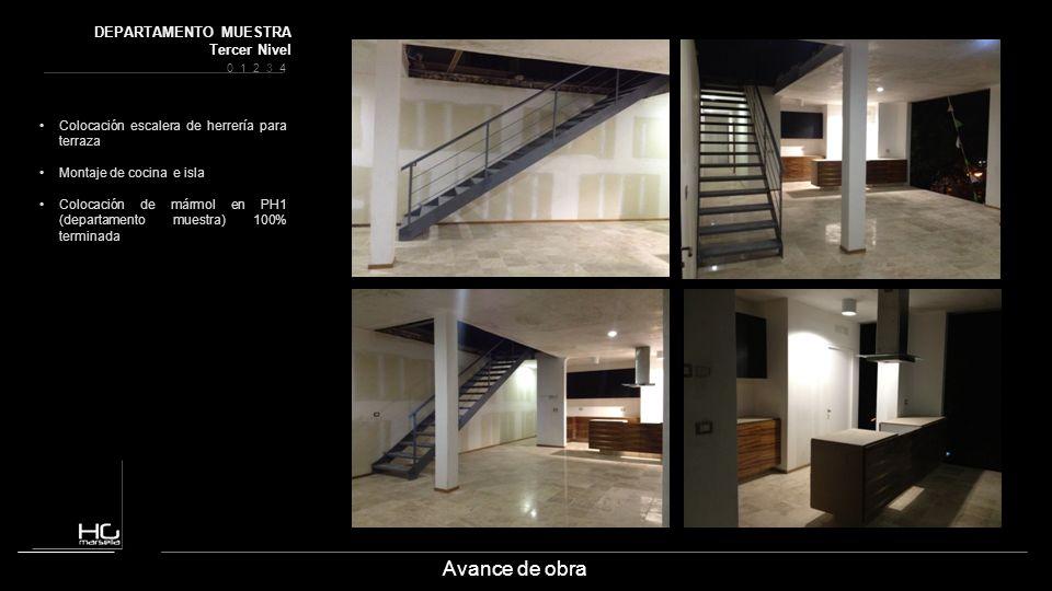 Avance de obra Colocación escalera de herrería para terraza Montaje de cocina e isla Colocación de mármol en PH1 (departamento muestra) 100% terminada