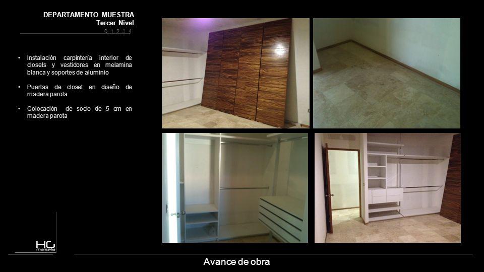 Avance de obra Instalación carpintería interior de closets y vestidores en melamina blanca y soportes de aluminio Puertas de closet en diseño de mader