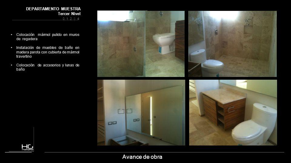 Avance de obra Colocación mármol pulido en muros de regadera Instalación de muebles de baño en madera parota con cubierta de mármol travertino Colocac