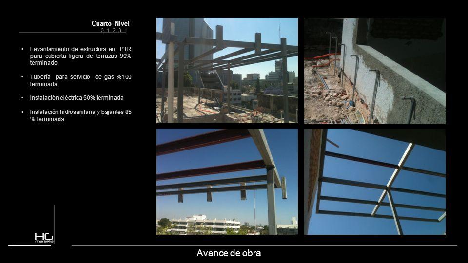 Avance de obra Levantamiento de estructura en PTR para cubierta ligera de terrazas 90% terminado Tubería para servicio de gas %100 terminada Instalaci