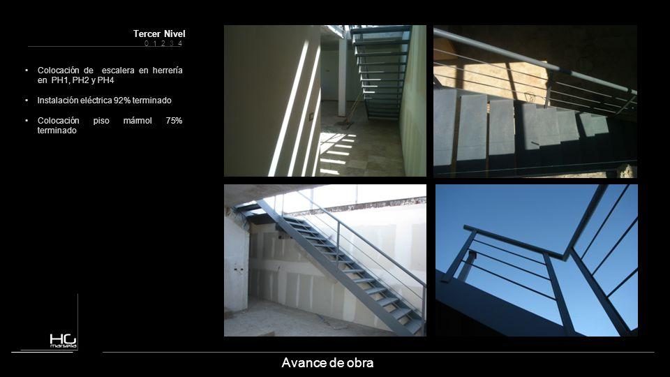Avance de obra Colocación de escalera en herrería en PH1, PH2 y PH4 Instalación eléctrica 92% terminado Colocación piso mármol 75% terminado 0 1 2 3 4