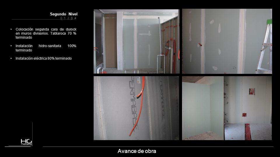 0 1 2 3 4 Segundo Nivel Avance de obra Colocación segunda cara de durock en muros divisorios. Tablaroca 70 % terminado Instalación hidro-sanitaria 100