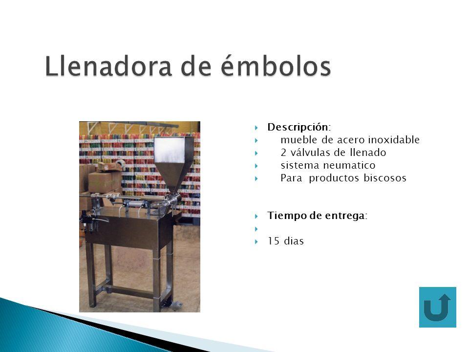 Descripción: mueble de acero inoxidable 2 válvulas de llenado sistema neumatico Para productos biscosos Tiempo de entrega: 15 dias