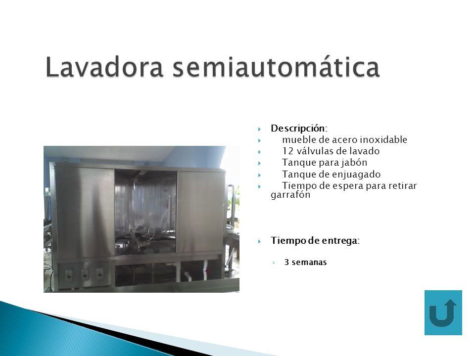 Descripción: mueble de acero inoxidable 12 válvulas de lavado Tanque para jabón Tanque de enjuagado Tiempo de espera para retirar garrafón Tiempo de e