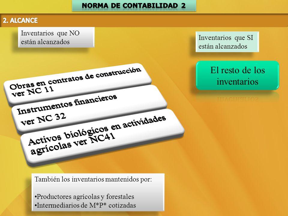 Inventarios que SI están alcanzados Inventarios que NO están alcanzados También los inventarios mantenidos por: Productores agrícolas y forestales Int