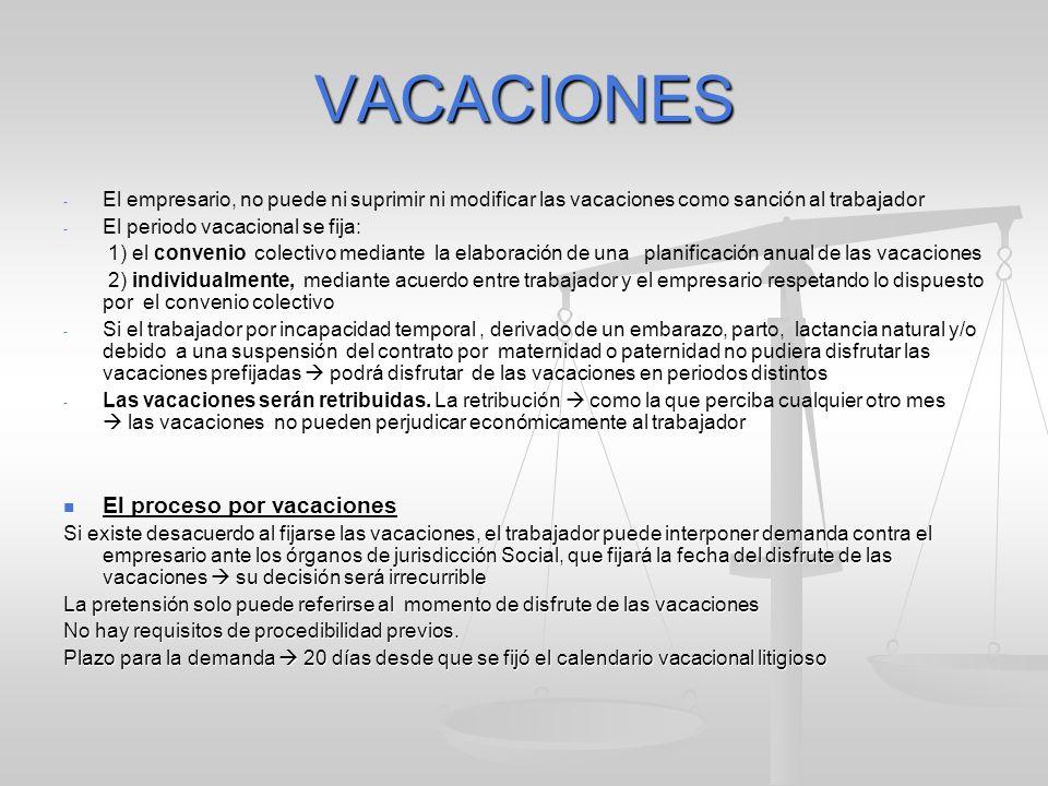 VACACIONES - - El empresario, no puede ni suprimir ni modificar las vacaciones como sanción al trabajador - - El periodo vacacional se fija: 1) el con