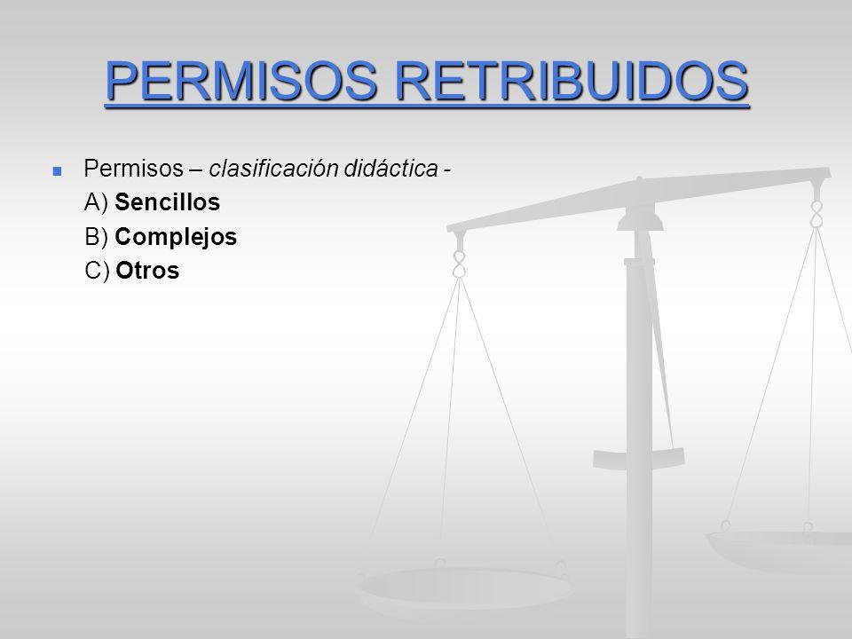 PERMISOS RETRIBUIDOS Permisos – clasificación didáctica - Permisos – clasificación didáctica - A) Sencillos A) Sencillos B) Complejos B) Complejos C) Otros C) Otros