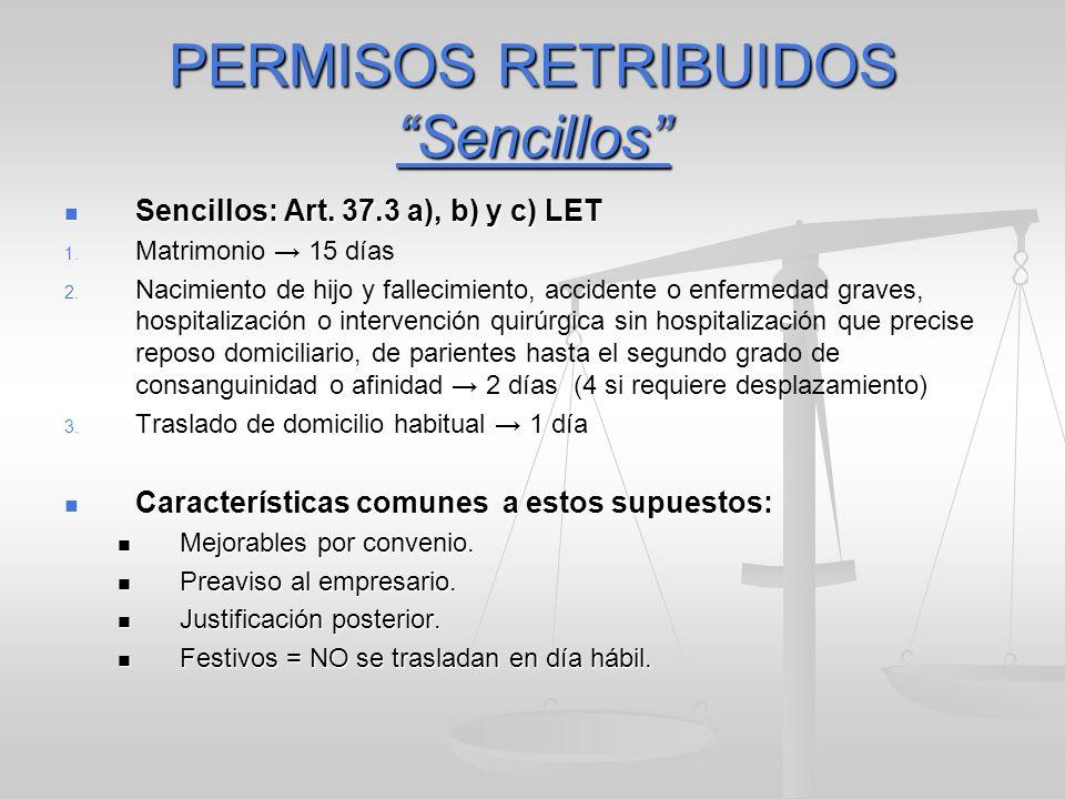 PERMISOS RETRIBUIDOS Sencillos Sencillos: Art. 37.3 a), b) y c) LET Sencillos: Art. 37.3 a), b) y c) LET 1. 1. Matrimonio 15 días 2. 2. Nacimiento de
