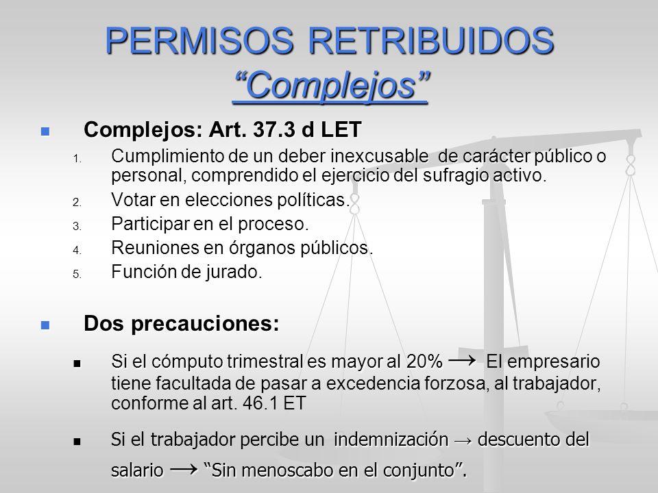 PERMISOS RETRIBUIDOS Complejos Complejos: Art. 37.3 d LET Complejos: Art. 37.3 d LET 1. Cumplimiento de un deber inexcusable de carácter público o per